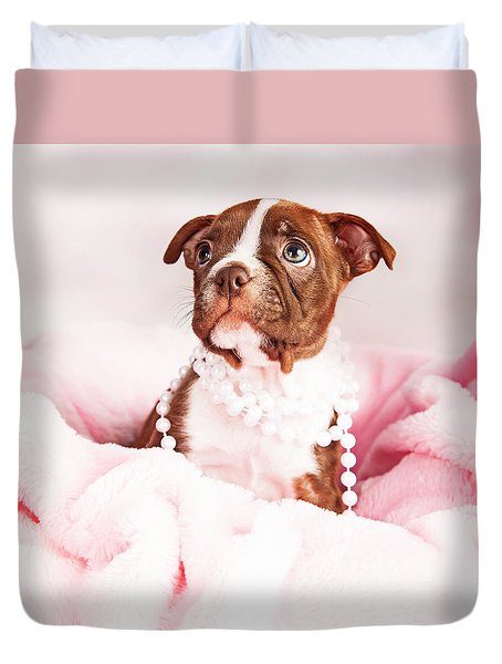 Boston Terrier Puppy In Pink Blanket Wearing Pearls Duvet Cover