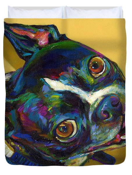 Duvet Cover featuring the digital art Boston Terrier by Robert Phelps