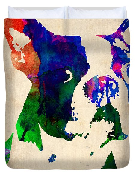 Boston Terrier Watercolor Duvet Cover