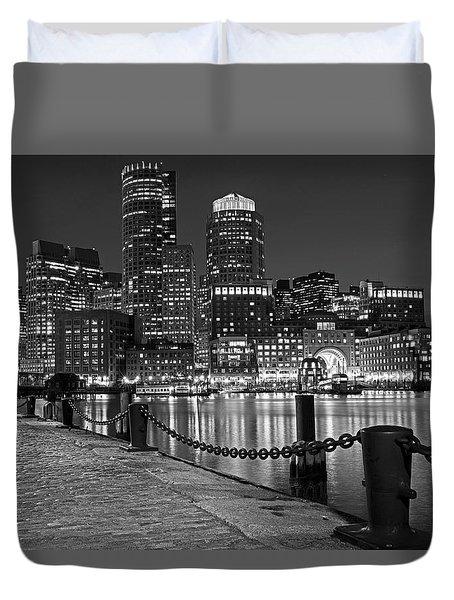 Boston Waterfront Boston Skyline Black And White Duvet Cover