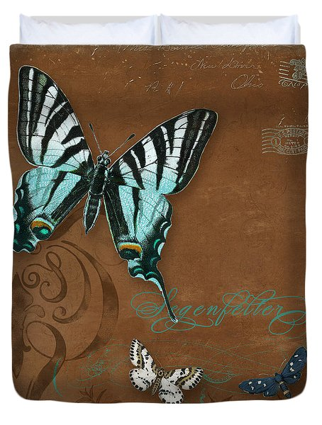 Botanica Vintage Butterflies N Moths Collage 3 Duvet Cover