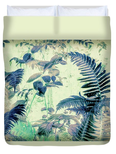 Duvet Cover featuring the mixed media Botanical Art - Fern by Bonnie Bruno