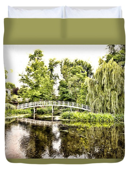 Duvet Cover featuring the photograph Botanical Bridge - Monet by Anthony Baatz