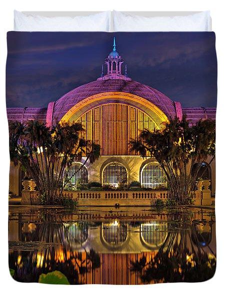 Botanical Building At Night In Balboa Park Duvet Cover