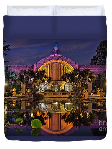 Botanical Building At Night In Balboa Park Duvet Cover by Sam Antonio Photography