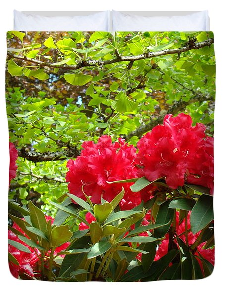 Botanical Garden Art Prints Red Rhodies Trees Baslee Troutman Duvet Cover by Baslee Troutman