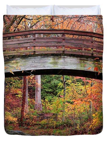 Botanical Gardens Arched Bridge Asheville During Fall Duvet Cover