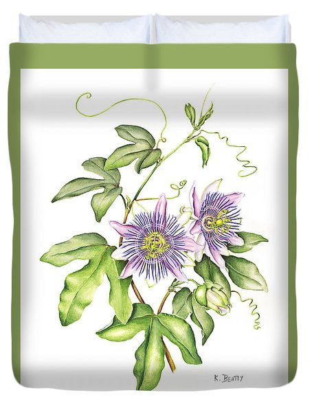 Botanical Illustration Passion Flower Duvet Cover