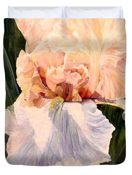 Botanical Peach Iris Duvet Cover