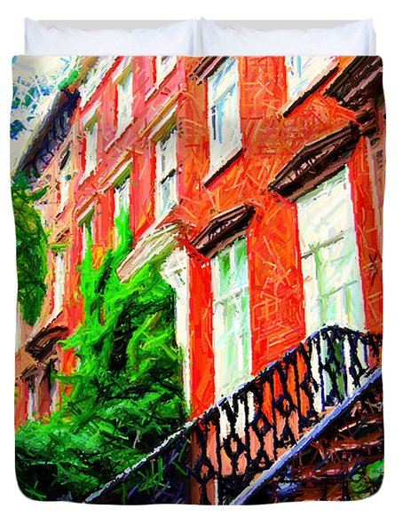 Botanical Village Sketch Duvet Cover by Randy Aveille