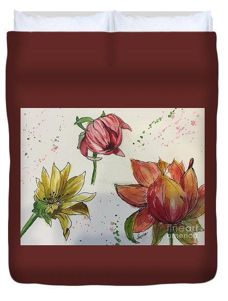 Duvet Cover featuring the painting Botanicals by Lucia Grilletto