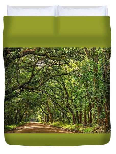 Botany Bay Edisto Island South Carolina Road Light And Shadow Duvet Cover