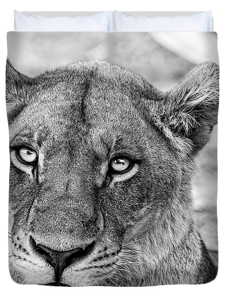 Botswana  Lioness In Black And White Duvet Cover