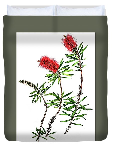 Duvet Cover featuring the painting Bottle Brush by Heidi Kriel