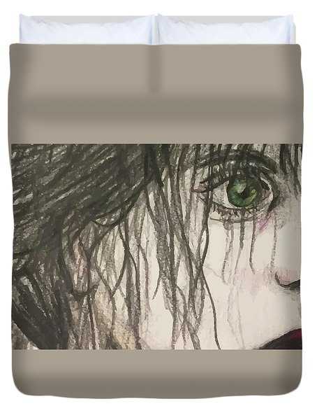 Bottle Green Red Lips Duvet Cover