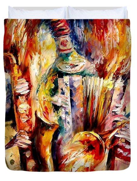 Bottle Jazz Duvet Cover by Leonid Afremov