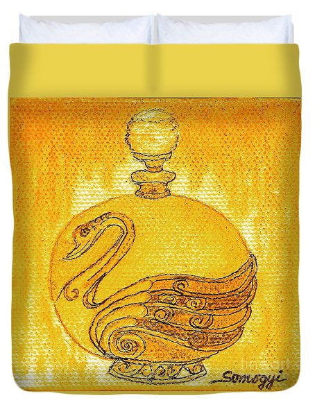 Bottled Gold Swan Duvet Cover