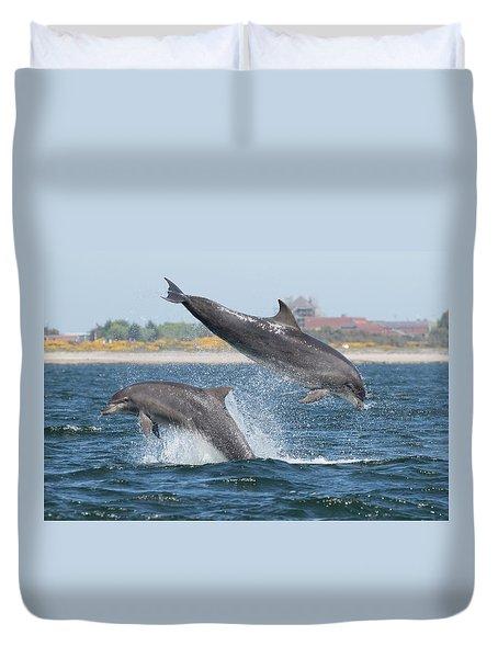 Duvet Cover featuring the photograph Bottlenose Dolphin - Moray Firth Scotland #48 by Karen Van Der Zijden