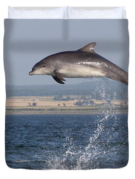 High Jump - Bottlenose Dolphin  - Scotland #42 Duvet Cover