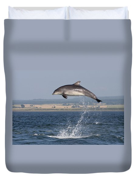 High Jump - Bottlenose Dolphin  - Scotland #42 Duvet Cover