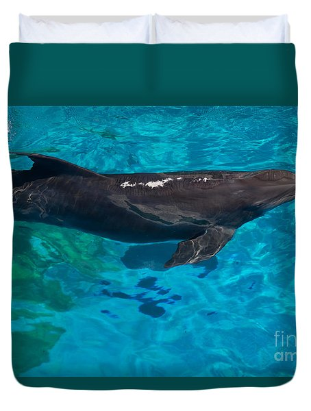 Duvet Cover featuring the photograph Bottlenose Dolphin by Suzanne Luft