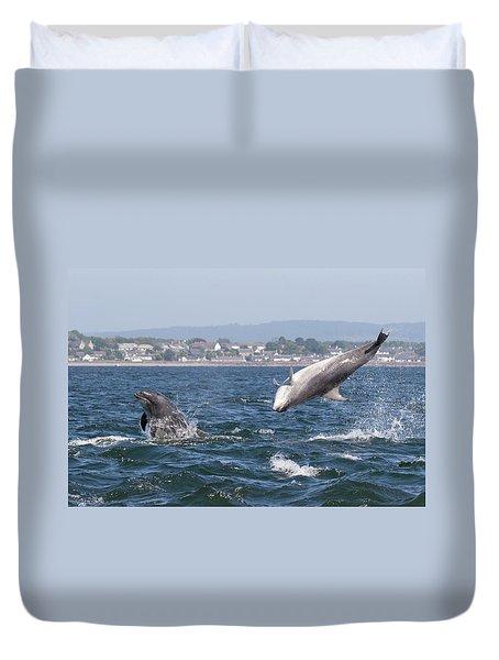 Duvet Cover featuring the photograph Bottlenose Dolphins - Moray Firth Scotland #45 by Karen Van Der Zijden
