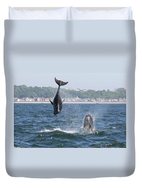 Duvet Cover featuring the photograph Bottlenose Dolphins - Moray Firth Scotland #46 by Karen Van Der Zijden