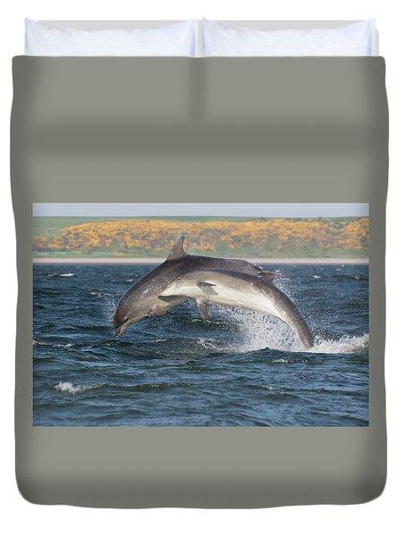 Duvet Cover featuring the photograph Bottlenose Dolphins - Moray Firth Scotland #47 by Karen Van Der Zijden