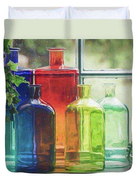 Bottles In The Window Duvet Cover