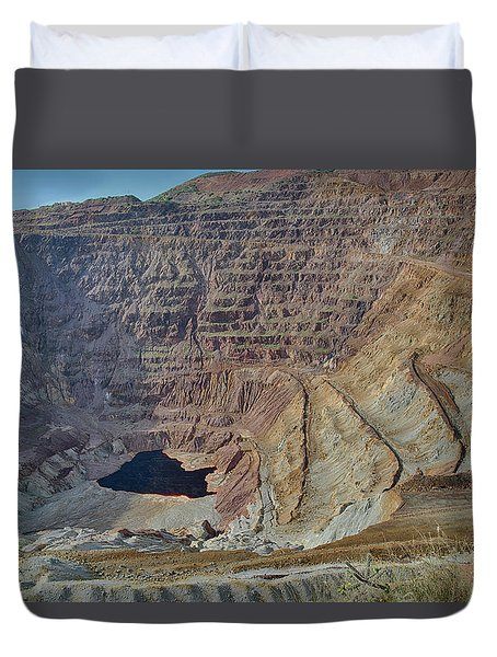 Duvet Cover featuring the photograph Bottom Of The Lavender Pit Mine by Dan McManus