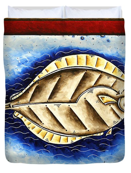 Bottom Of The Sea Creature Original Madart Painting Duvet Cover by Megan Duncanson