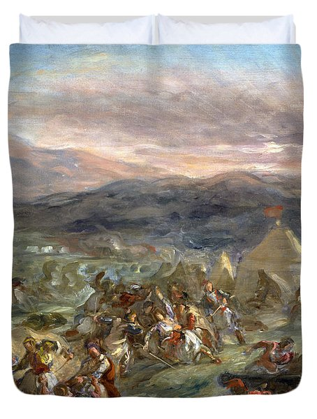 Botzaris Surprises The Turkish Camp And Falls Fatally Wounded Duvet Cover