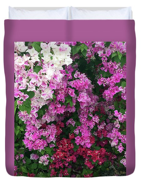 Bougainville Flowers In Hawaii Duvet Cover by Karen Nicholson