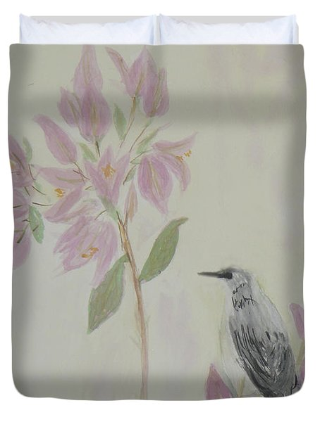Bougainvillea And Mockingbird Duvet Cover