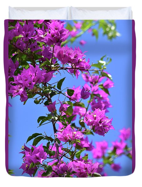 Bougainvillea And Sky Duvet Cover
