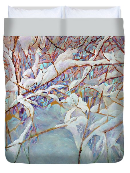 Duvet Cover featuring the painting Boughs In Winter by Joanne Smoley