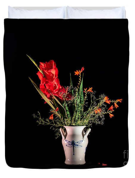 Bouquet In Red Duvet Cover by Torbjorn Swenelius