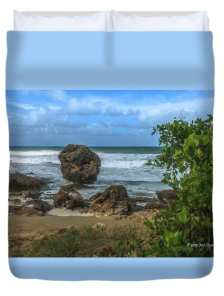 Duvet Cover featuring the photograph Boulder Beach by Jose Oquendo