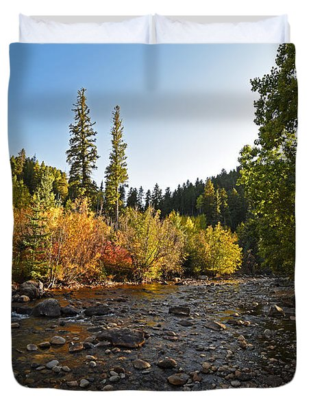 Boulder Colorado Canyon Creek Fall Foliage Duvet Cover