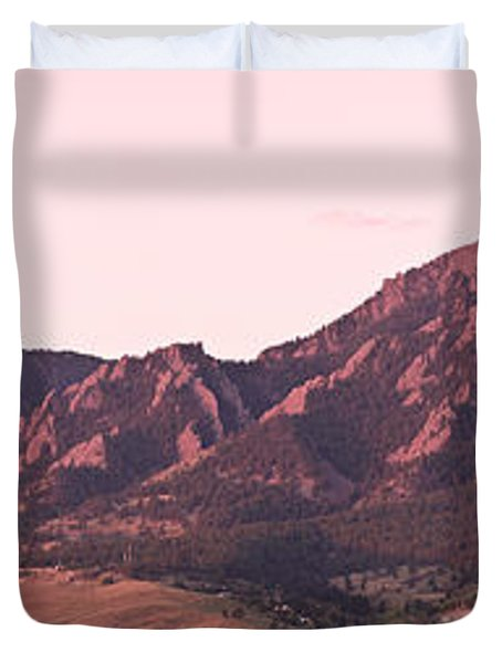 Boulder Colorado Flatirons 1st Light Panorama Duvet Cover