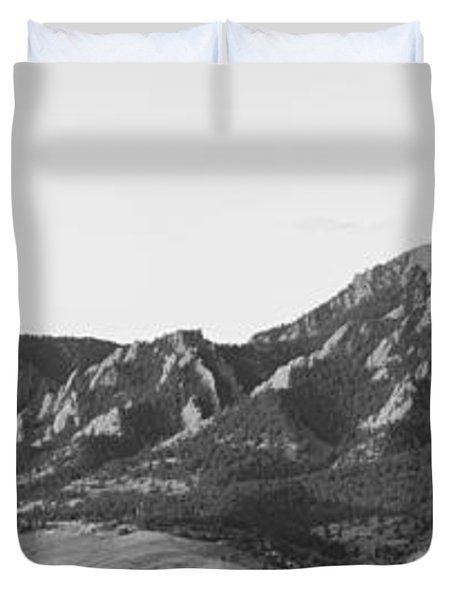 Boulder Colorado Flatirons And Cu Campus Panorama Bw Duvet Cover