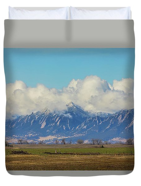 Duvet Cover featuring the photograph Boulder Colorado Front Range Cloud Pile On by James BO Insogna