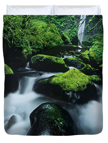 Duvet Cover featuring the photograph Boulder Elowah Falls Columbia River Gorge Nsa Oregon by Dave Welling