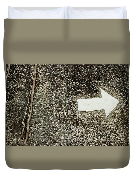 Duvet Cover featuring the photograph Boulder Face With Arrow And Vines by Jason Rosette