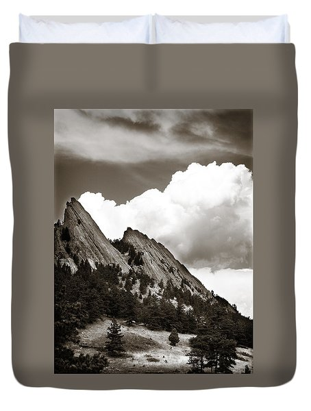 Large Cloud Over Flatirons Duvet Cover by Marilyn Hunt