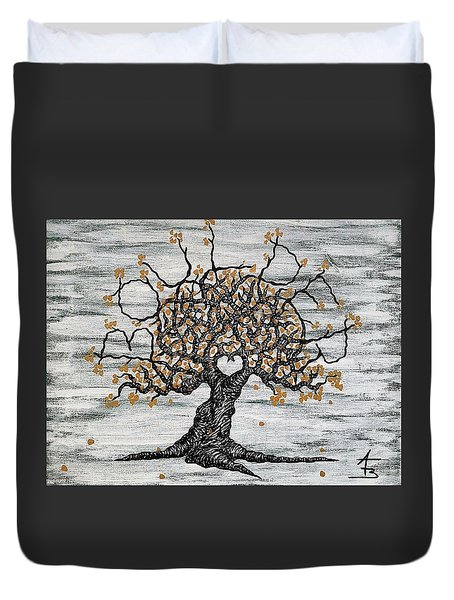 Duvet Cover featuring the drawing Boulder Love Tree by Aaron Bombalicki