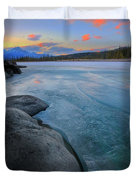 Boulders And Ice On The Athabasca River Duvet Cover