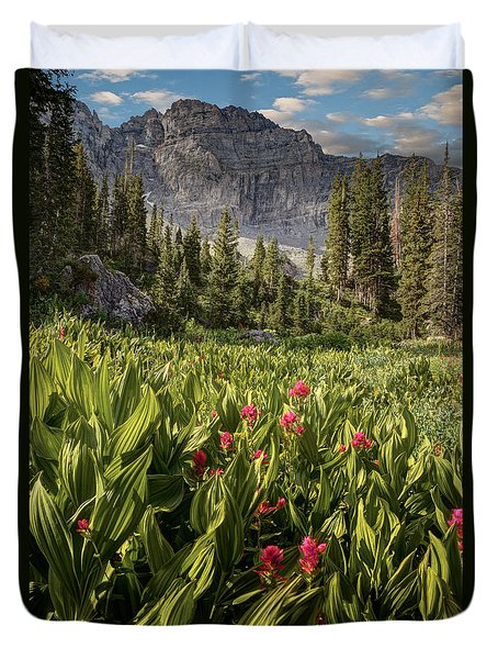Boulders And Wildflowers In Albion Basin Duvet Cover by Utah Images