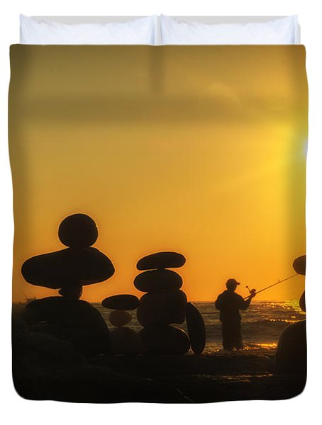 Boulders By The Sea Duvet Cover