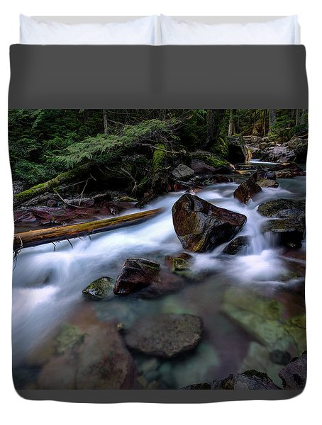 Boulders In Avalanche Creek Duvet Cover